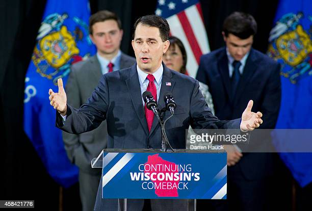 Wisconsin Gov. Scott Walker speaks at his election night party November 4, 2014 in West Allis, Wisconsin. Walker defeated Democratic challenger Mary...