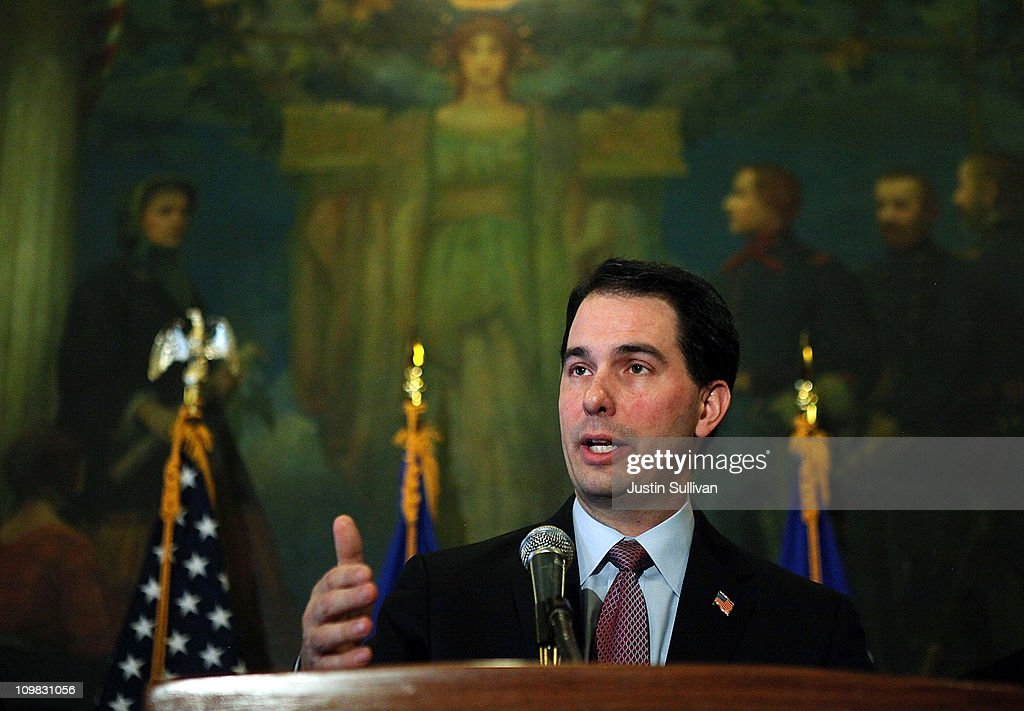Wisconsin Gov. Scott Walker speaks during a press conference at the Wisconsin State Capitol on March 7, 2011 in Madison, Wisconsin. Governor Walker criticized Democratic state senators of misleading the public and standing in the way of breaking an budget impasse that has 14 Senate Democrats hiding out in Illinois. The letter requested a meeting near the Wisconsin and Illinois borders following a report that the Democrats would return to the capitol.