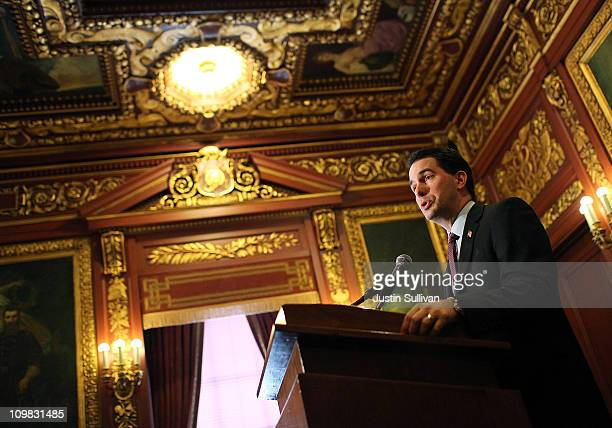 Wisconsin Gov Scott Walker speaks during a press conference at the Wisconsin State Capitol on March 7 2011 in Madison Wisconsin Governor Walker...