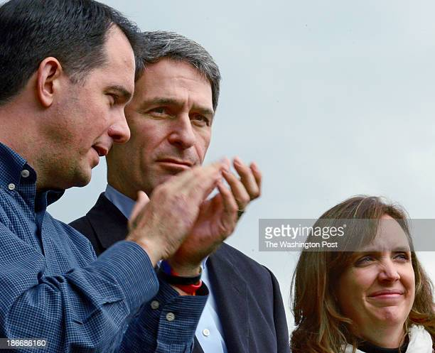 Wisconsin Governor Scott Walker appears with Virginia Gubernatorial candidate Ken Cuccinelli and wife Teiro at a campaign rally in Woodbridge...