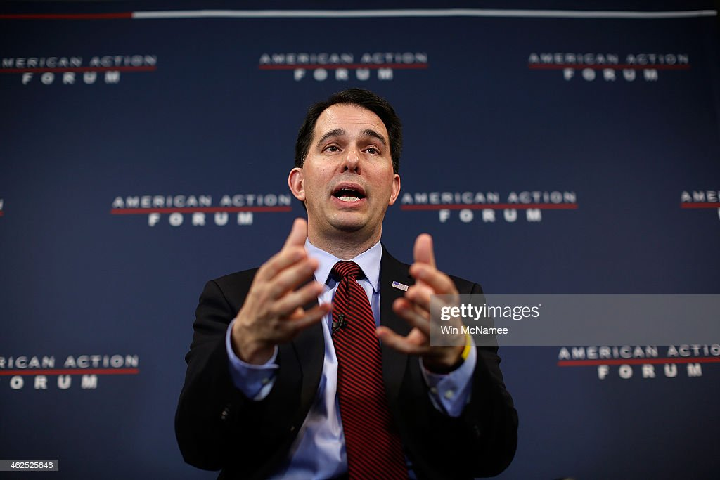 Wisconsin Governor Scott Walker speaks at the American Action Forum January 30, 2015 in Washington, DC. Earlier in the week Walker announced the formation of 'Our American Revival', a new committee designed to explore the option of a presidential bid in 2016.