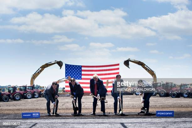 TOPSHOT Wisconsin Governor Scott Walker US President Donald Trump Foxconn Chairman Terry Gou Speaker of the House Paul Ryan and an unidetified...