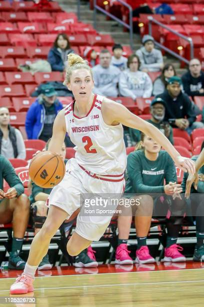Wisconsin guard Kelly Karlis drives towards the basket during a women's college basketball game between the University of Wisconsin Badgers and the...