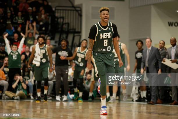 February 23: Wisconsin Herd center Justin Patton celebrates a basket in a NBA G-League game on Sunday February 23, 2020 against the Grand Rapids...