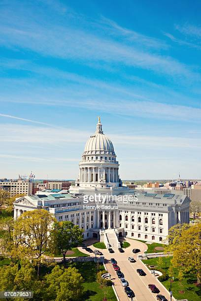 Wisconsin, Madison, Capitol with blue sky