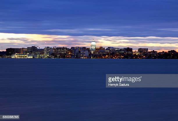 usa, wisconsin, madison, city skyline at sunset - madison wisconsin stock pictures, royalty-free photos & images