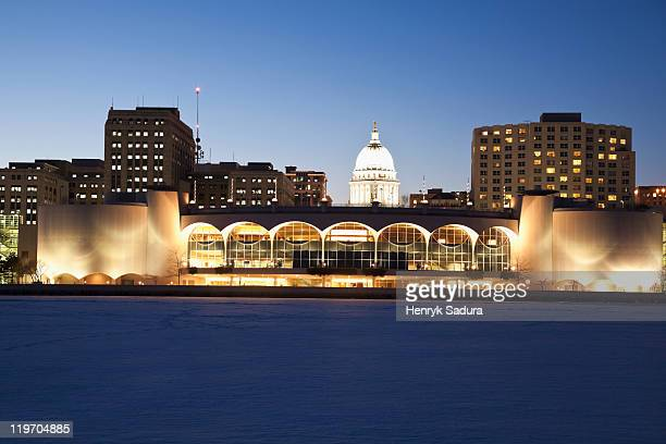 usa, wisconsin, madison, city skyline over lake monona at night - madison wisconsin stock pictures, royalty-free photos & images