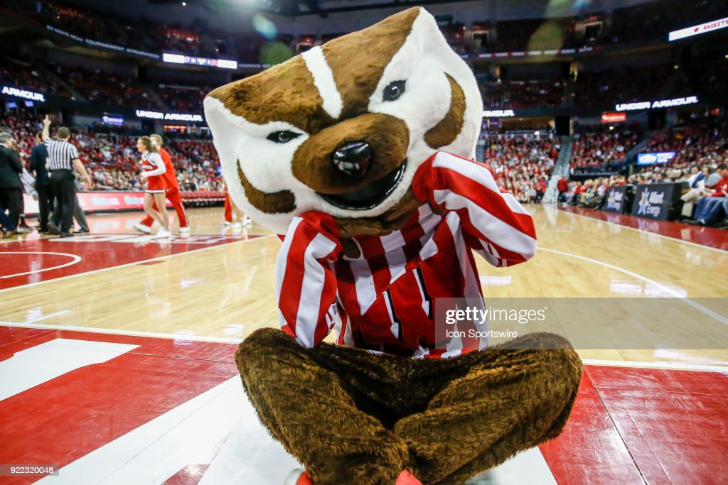 Wisconsin mascot Bucky Badger during a college basketball game between the University of Wisconsin Badgers and the University of Minnesota Golden Gophers on February 19, 2018 at the Kohl Center in Madison, WI. Wisconsin defeated Minnesota by a score of 73 - 63.