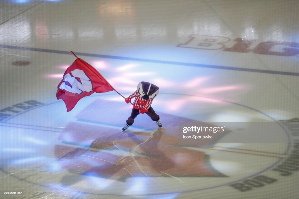 Wisconsin Mascot Bucky Badger During A College Hockey Game Between