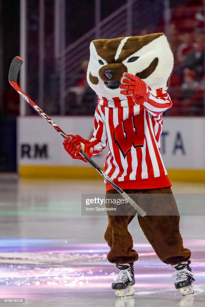Wisconsin Mascot Bucky Badger Practices His Stick Handling During A