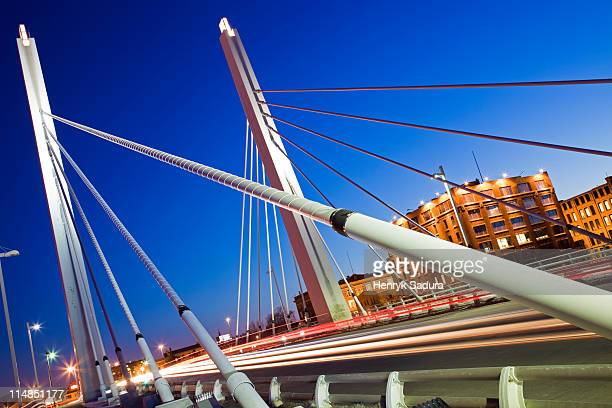 usa, wisconsin, milwaukee, suspension bridge at night - milwaukee stock pictures, royalty-free photos & images