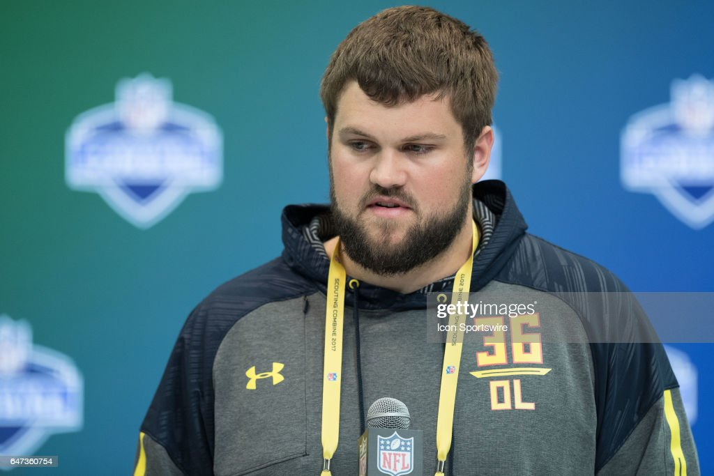 Wisconsin offensive lineman Ryan Ramczyk answers questions from the media during the NFL Scouting Combine on March 2, 2017 at Lucas Oil Stadium in Indianapolis, IN.