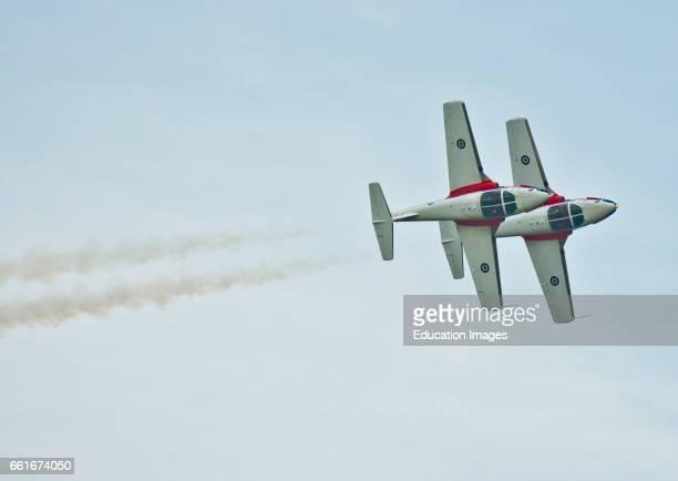 Wisconsin Oshkosh AirVenture 2016 Canadian Air Force Snowbirds Aerobatic Team Aircraft flying Canadair CT114 Tudor Jets