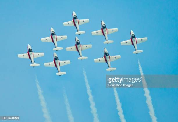 Wisconsin, Oshkosh, AirVenture 2016, Canadian Air Force Snowbirds Aerobatic Team Aircraft flying Canadair CT-114 Tudor Jets formation Pattern.