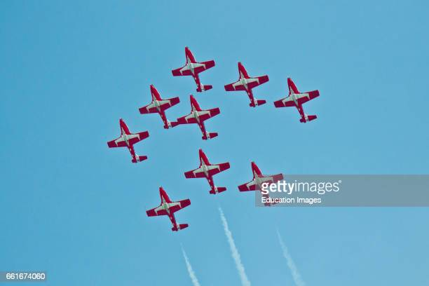 Wisconsin Oshkosh AirVenture 2016 Canadian Air Force Snowbirds Aerobatic Team Aircraft flying Canadair CT114 Tudor Jets formation Pattern