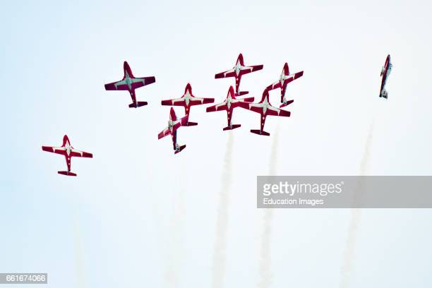 Wisconsin Oshkosh AirVenture 2016 Canadian Air Force Snowbirds Aerobatic Team Aircraft flying Canadair CT114 Tudor Jets