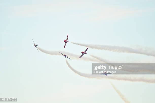 Wisconsin, Oshkosh, AirVenture 2016, Canadian Air Force Snowbirds Aerobatic Team Aircraft flying Canadair CT-114 Tudor Jets.