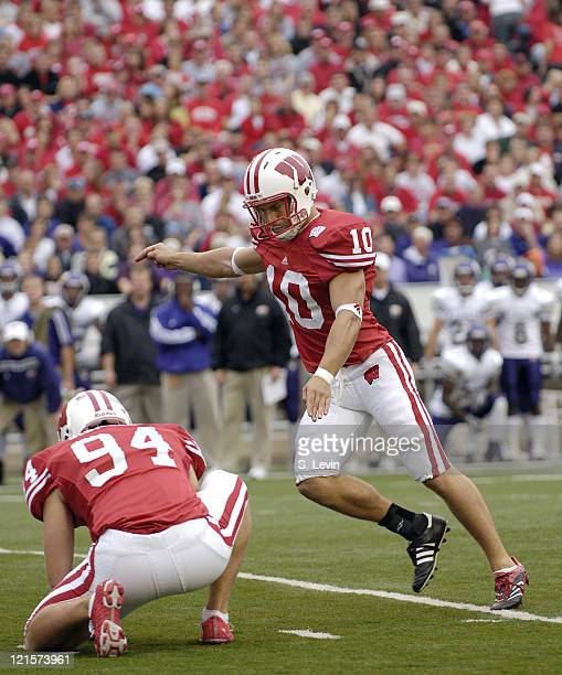Wisconsin place kicker Taylor Mehlhaff during the game between the Wisconsin Badgers and the Western Illinois Leathernecks at Camp Randall Stadium in...
