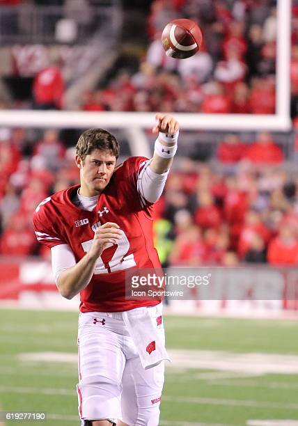 Wisconsin quarterback Alex Hornibrook warms up during a break in game action Wisconsin beat Nebraska in overtime by a final score of 2317 in overtime...