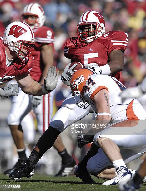 Wisconsin running back Lance Smith gains some tough yards versus Illinois at Camp Randall Stadium in Madison Wisconsin October 28 2006 The Badgers...