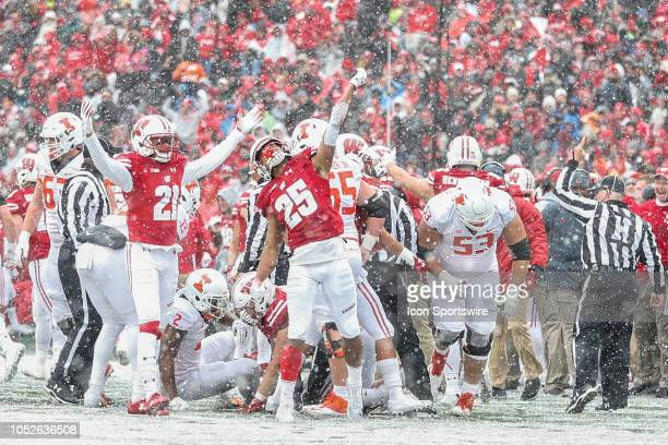 Wisconsin safety Eric Burrell and Wisconsin cornerback Caesar Williams celebrate a Wisconsin fumble recovery during a college football game between...