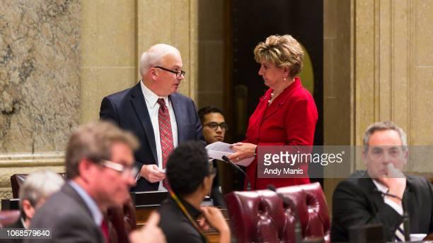 Wisconsin Senate Majority Leader Sen Scott Fitzgerald and Senate Minority Leader Jennifer Shilling confer during a contentious legislative session on...