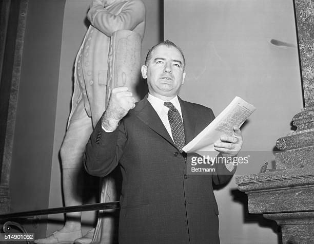 Wisconsin Senator on Yalta Papers. Washington, D.C.: Sen. Joseph R. McCarthy Wisc., is shown which clenched fist as he commented on the release today...