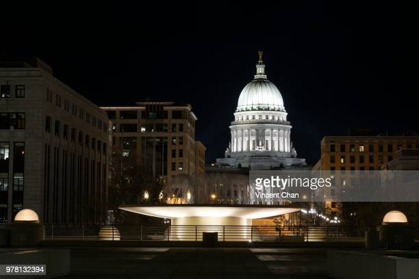 wisconsin state capitol at night - iron_county,_wisconsin stock pictures, royalty-free photos & images