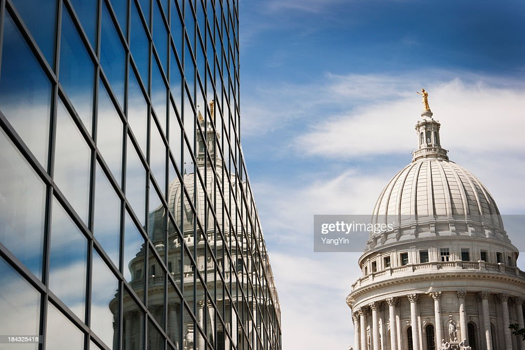Wisconsin State Capitol Dome Reflecting in Steel and Glass Building : Stock Photo