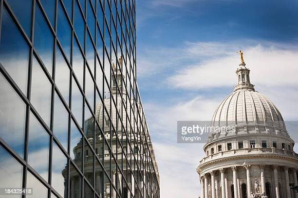 wisconsin state capitol dome reflecting in steel and glass building - madison wisconsin stock pictures, royalty-free photos & images