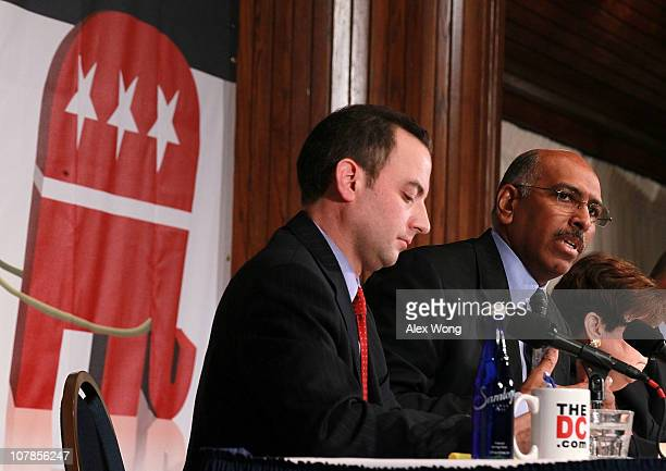 Wisconsin state party chairman Reince Priebus and incumbent Republican National Committee Chairman Michael Steele participate in a debate between...