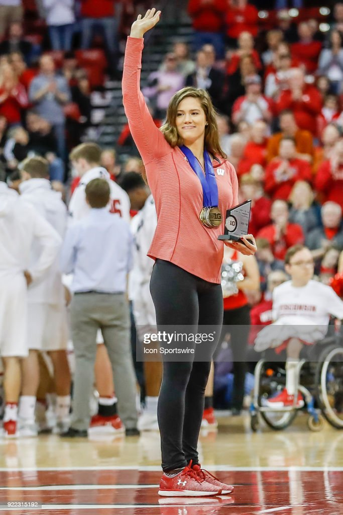 Wisconsin swimmer Beata Nelson is introduced during a college basketball game between the University of Wisconsin Badgers and the University of Minnesota Golden Gophers on February 19, 2018 at the Kohl Center in Madison, WI. Wisconsin defeated Minnesota by a score of 73 - 63.