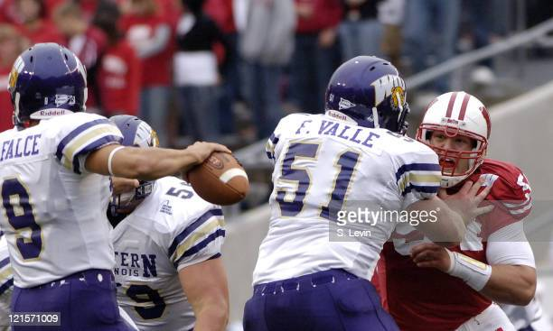 Wisconsin's Mike Newkirk tries to get to the quarterback during the game between the Wisconsin Badgers and the Western Illinois Leathernecks at Camp...