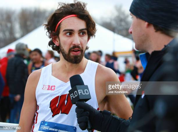 Wisconsin's Morgan McDonald gives a post race interview after winning the Division I Men's Cross Country Championship held at the Thomas Zimmer...