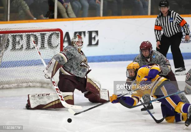 WisconsinStevens Point Pointers Norwich Cadets in the overtime period of their Division III Men's Ice Hockey Championship held at KB Willett Arena on...