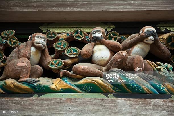 Wise Monkeys 'Hear no Evil Speak No Evil See no Evil' at Toshogu Shrine built in 1617 as the mausoleum of the Tokugawa Ieyasu The main shrine...