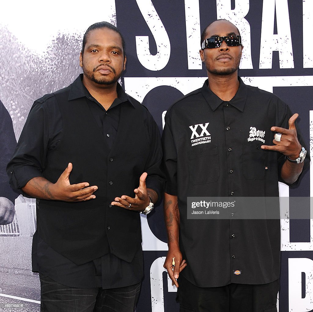 Wish Bone and Flesh-N-Bone of Bone Thugs-n-Harmony attends the premiere of 'Straight Outta Compton' at Microsoft Theater on August 10, 2015 in Los Angeles, California.