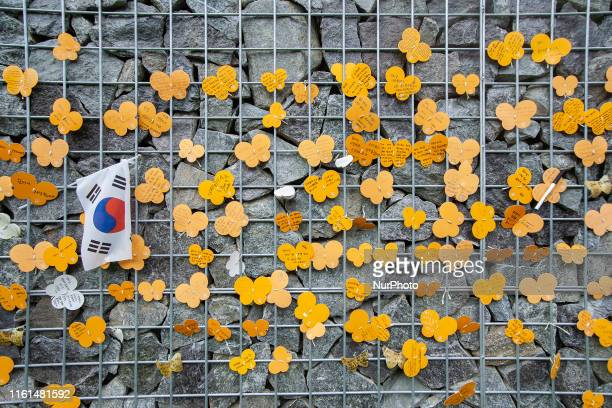 A Wish butterfly message for WWII Japanese Military Comfort Women displayed at Memorial Park of Sharing House in Gwangju South Korea on 13 August...