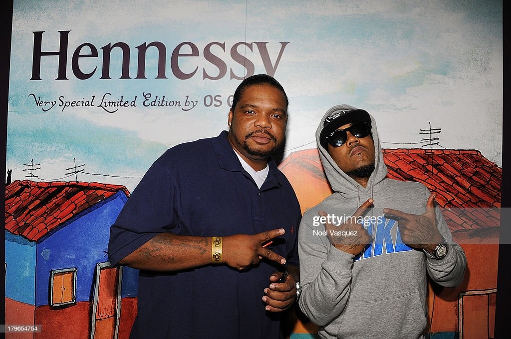 Wishbone (L) and Problem attend the Hennessy OS GEMEOS Los Angeles launch at The Emerson Theatre on September 5, 2013 in Hollywood, California.