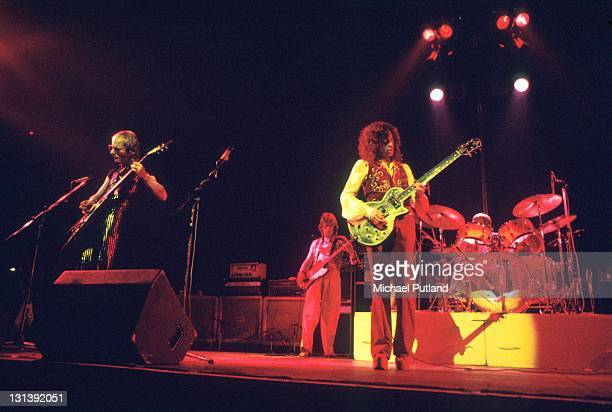 Wishbone Ash perform on stage London LR Martin Turner Andy Powell Laurie Wisefield Laurie Wisefield plays a Zemaitis guitar