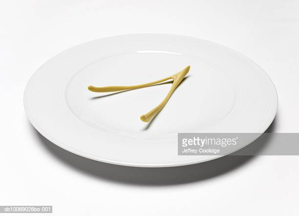 Wishbone on white plate, studio shot