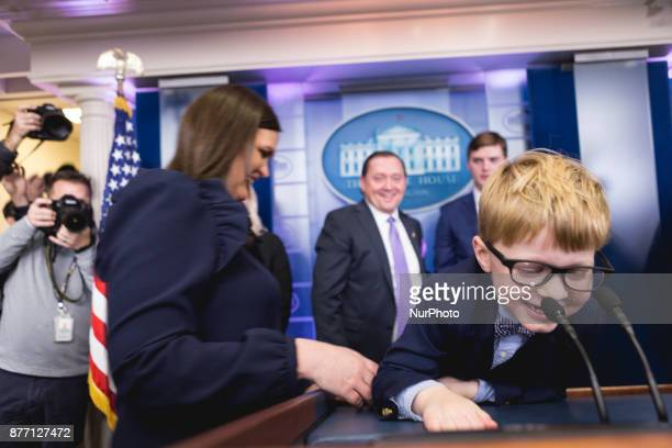 Wishbone one of the turkeys who may be pardoned by President Donald Trump makes a surprise visit to the James S Brady Press Briefing Room of the...