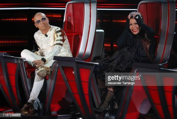 """Wisin and Alejandra Guzman are seen during the semi-finals of Telemundo's """"La Voz"""" competition at Cisneros Studios on April 14, 2019 in Miami,..."""
