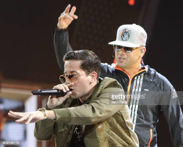 Wisin and De la Ghetto rehearses on stage during Univision's 'Premios Juventud' 2017 Celebrates The Hottest Musical Artists And Young Latinos...