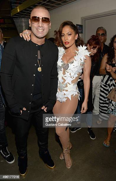 Wisin and Jennifer Lopez attend iHeartRadio Fiesta Latina presented by Sprint at American Airlines Arena on November 7 2015 in Miami Florida
