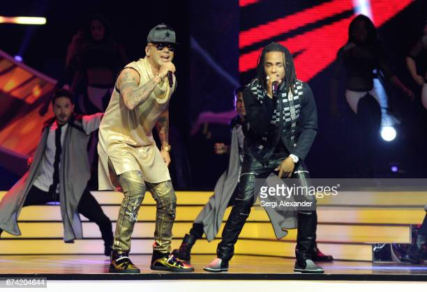 Wisin and Ozuna perform onstage at the Billboard Latin Music Awards at Watsco Center on April 27 2017 in Coral Gables Florida