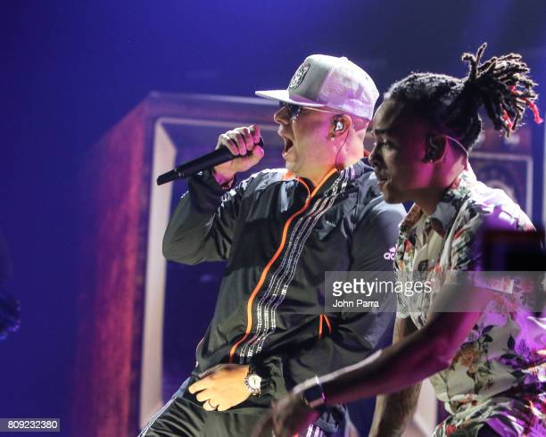 Wisin and Ozuna rehearses on stage during Univision's 'Premios Juventud' 2017 Celebrates The Hottest Musical Artists And Young Latinos ChangeMakers...