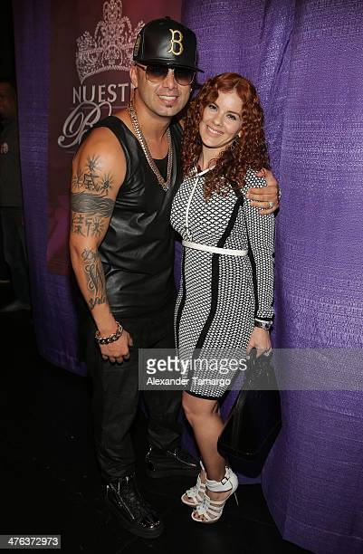 Wisin and Yomaira Ortiz are seen attending the premiere show of Univision's Nuestra Belleza Latina at Univision Headquarters on March 2 2014 in Miami...