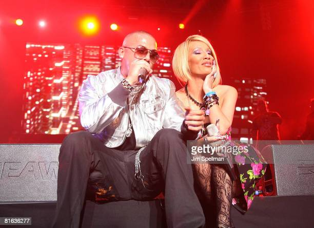 Wisin of Wisin y Yandel and Singer Ivy Queen perform during a pre-Puerto Rican Day Parade celebration concert on June 7, 2008 at Madison Square...