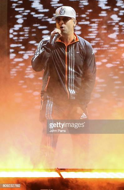 Wisin rehearses on stage during Univision's 'Premios Juventud' 2017 Celebrates The Hottest Musical Artists And Young Latinos ChangeMakers Day 2...